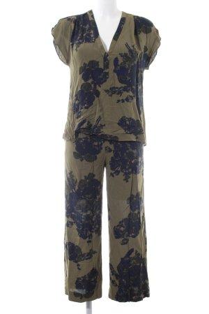 H&M Jersey Twin Set khaki-grün Blumenmuster Casual-Look