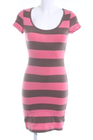 H&M Jerseykleid rosa-hellbraun Streifenmuster Casual-Look