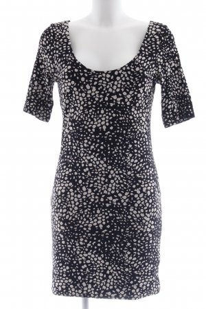 H&M Jerseykleid schwarz-wollweiß Farbtupfermuster Casual-Look