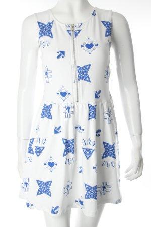 H&M Jerseykleid weiß-blau Ornamentenmuster Zierreißverschluss