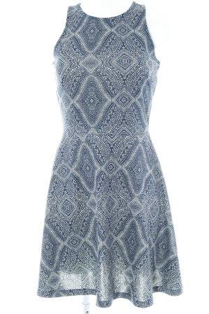 H&M Jerseykleid weiß-dunkelblau abstraktes Muster Casual-Look
