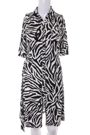 H&M Jerseykleid weiß-schwarz Animalmuster Animal-Look