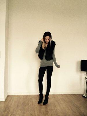 H&M Jimmy Choo Weste Schwarz Fell Fake Fur 36 S