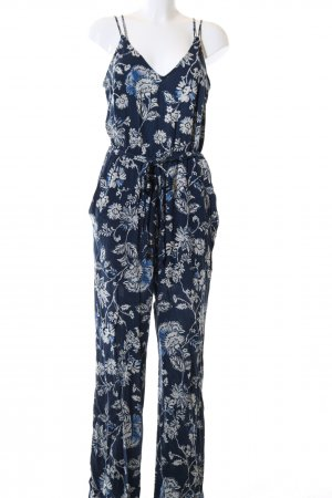 H&M Jumpsuit blau-weiß Allover-Druck Casual-Look
