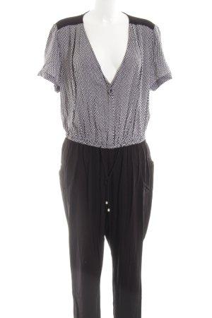 H&M Jumpsuit schwarz-weiß grafisches Muster Business-Look