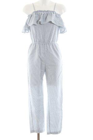 H&M Jumpsuit hellgrau-weiß Streifenmuster Casual-Look