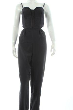 H&M Jumpsuit dunkelblau Allover-Druck Materialmix-Look