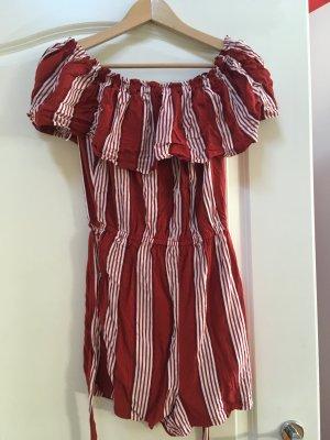 H&M Tuta rosso neon-bianco Cotone