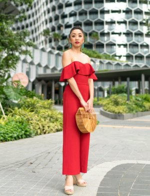 H&M Jumpsuit Overall Rot 40