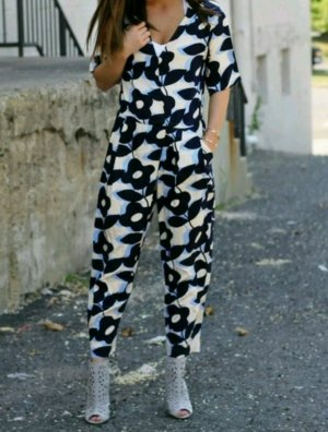 H&M Jumpsuit Overall S 36 38 Floral Blume