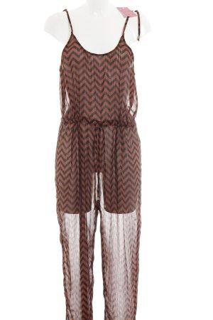H&M Jumpsuit rostrot-schwarz Zackenmuster Street-Fashion-Look