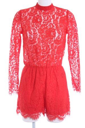 H&M Jumpsuit rot florales Muster Spitzen-Optik