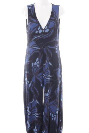 H&M Jumpsuit schwarz-blau abstraktes Muster Casual-Look