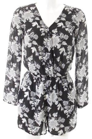 H&M Jumpsuit zwart-lichtgrijs bloemenprint straat-mode uitstraling