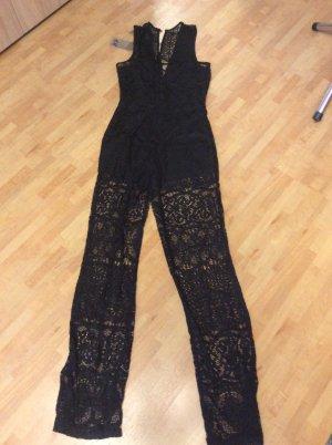 H&M Jumpsuit schwarz mit Spitze Gr 34 neu
