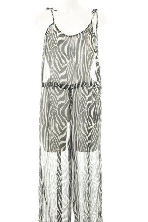 H&M Jumpsuit schwarz-weiß Animalmuster Transparenz-Optik