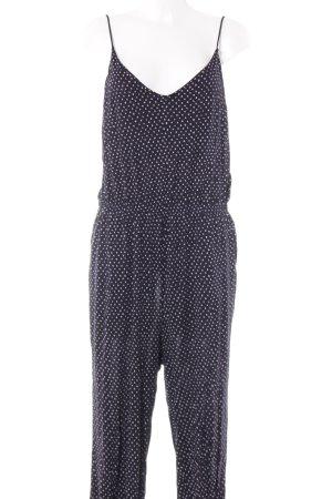 H&M Jumpsuit weiß-dunkelblau Punktemuster Beach-Look