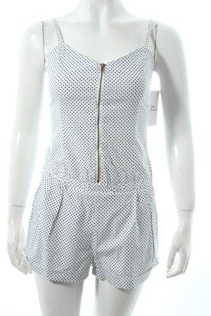 H&M Jumpsuit weiß-schwarz Punktemuster