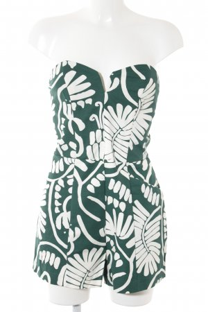 H&M Jumpsuit natural white-forest green abstract pattern casual look