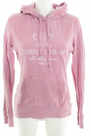H&M Hooded Sweater pink embroidered lettering simple style