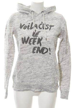 H&M Kapuzensweatshirt hellgrau Schriftzug gedruckt Casual-Look