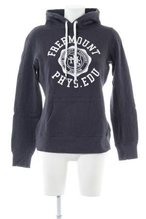 H&M Kapuzensweatshirt blau-weiß Schriftzug gedruckt Casual-Look