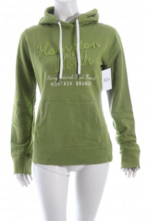 H&M Kapuzensweatshirt grasgrün Schriftzug gedruckt Casual-Look