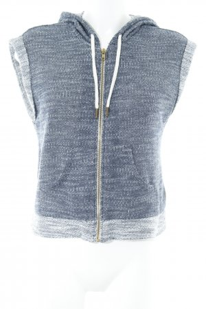H&M Hooded Vest dark blue-natural white flecked athletic style