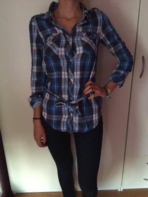 H&M Karo Bluse Blau Gürtel