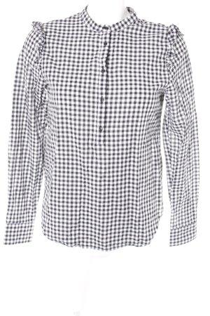 H&M Blouse à carreaux noir-blanc motif Vichy style décontracté