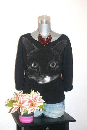 H&M Katzen Print Pullover gr.40/42 Schwarz