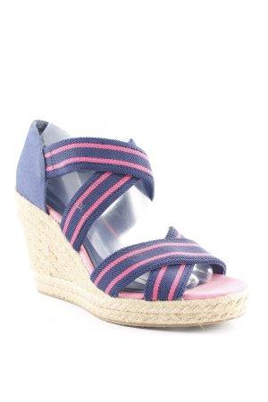 H&M Keil-Pumps dunkelblau-pink Streifenmuster Beach-Look