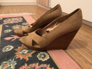 H&M Keilabsatz Peeptoe Schuhe 39 beige Gold
