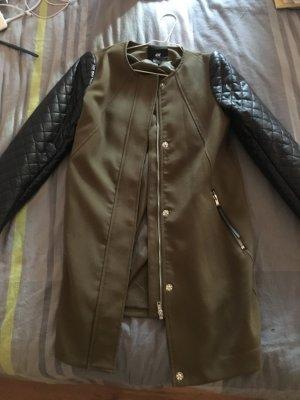 H&M Long Jacket black-khaki