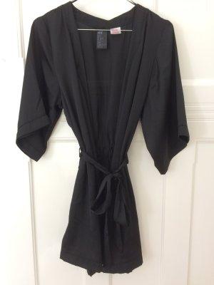H&M Kimono Bademantel Morgenmantel Loungewear Gr. S Satin schwarz