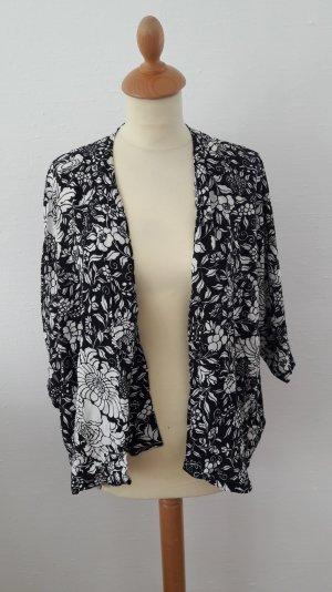 H&M Kimono Bluse Blüten NEU 38 S schwarz weiß