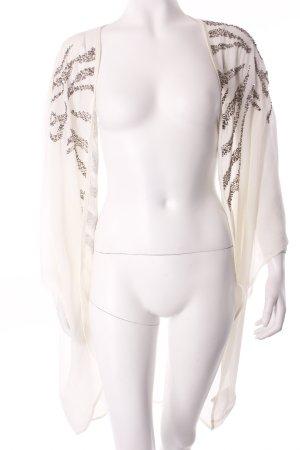 H&M Kimono-Bluse creme-grau Transparenz-Optik
