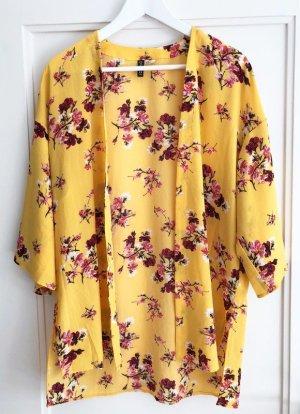 H&M Kimono Gelb Blüten, Gr. S