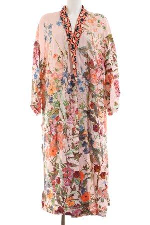 H&M Kimono light pink-grass green floral pattern extravagant style