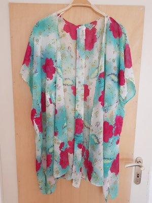 H&M Kimono Kaftan Türkis Pink mit Gürtel One Size