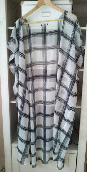 H&M Kimono / Kleid / Mantel / Schal, Schwarz/Weiß Monochrom, Chiffon / Satin, NEU