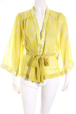 H&M Kimono lime yellow-oatmeal floral pattern elegant