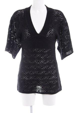 H&M Kimono Pullover schwarz florales Muster Spitzen-Optik