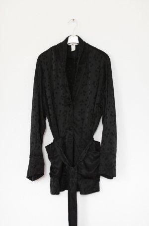 H&M Kimono Pyjama Jacke Bluse schwarz Vintage Look Gr. 38
