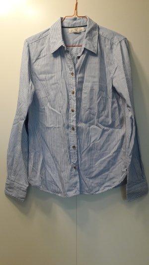 H&M klassische Damen Hemdbluse weiß hellblau gestreift mit Ärmelpatch Gr. 36