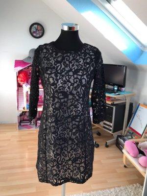 H&M Vestido de encaje negro-nude