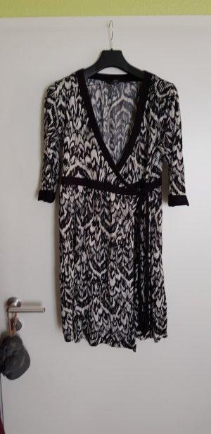 H&M Vestido cruzado blanco-negro