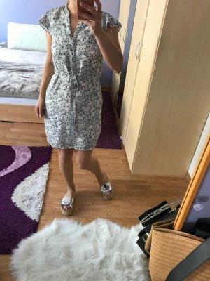 H&M Vestido estilo flounce blanco-negro