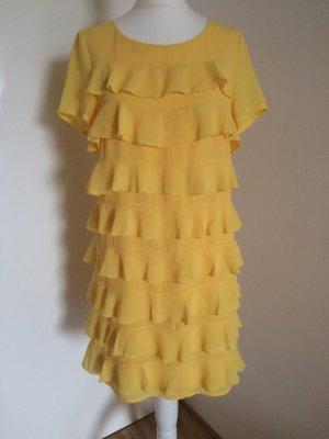 H&M Kleid 36 S neu gelb Abendkleid Volant Chiffon
