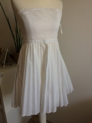 H&M Kleid 36 S neu weiß Sommerkleid plissiert Bandeau Plissee Frühling Sommer